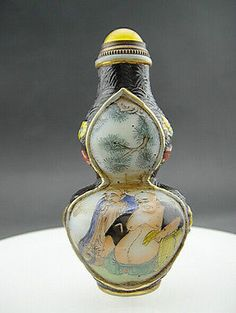 Rare Chinese Antique Painted Figure Enamel Glass Snuff Bottle Qianlong Mark Y145