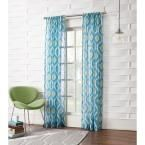LICHTENBERG Sheer Marine No. 918 Millennial Marvin Ikat Crushed Sheer Curtain Panel, 50 in. W x 95 in. L