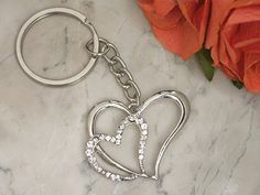 Elegant Chrome Double heart keychain *** Don't get left behind, see this great  product : Home Decor Collectible Figurines