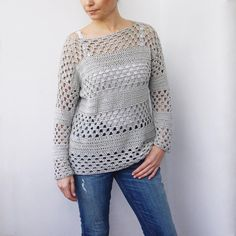 Pattern is written in US crochet terms.Granny stripes sweater is easy-to-make with elegant relaxed silhouette. It's light, airy and gives you just the right amount of warmth. Granny stripes sweater is perfect to wear with jeans and a tank top or to layer over a swimsuit. No matter how you choose to wear it, you'll feel comfortable with a fresh look. It's made from The Cotton by We are knitters - extremly soft pima cotton yarn with great drape in col. Light Grey.