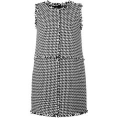 Gianluca Capannolo tweed shift dress (£1,045) ❤ liked on Polyvore featuring dresses, black, tweed shift dress, tweed dress and shift dress