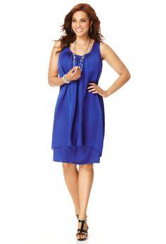 Plus Size Pleat Front Double Layer Dress | Plus Size View All Dresses | Avenue