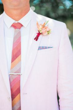 Pink, Coral and Peach colour for the groom