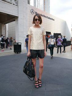 Ella Catliff wearing Carrera by Jimmy Choo at NYFW