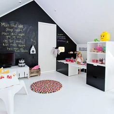 So many ways to use Ikea Stuva system in the children's room! Attic Spaces, Kid Spaces, Girl Room, Girls Bedroom, Bedroom Ideas, White Washed Wood Paneling, Ikea Stuva, Kids Storage, Storage Ideas
