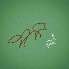 Single line drawing. Fox hunting rabbit