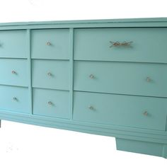 RESERVED LISTING for Jill T Dresser Upcycled Mid Century with Mirror Aqua Blue