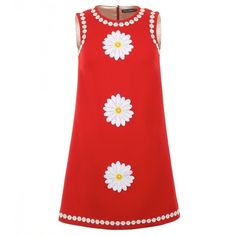 Dolce & Gabbana Red Wool Daisy Appliqué Dress ($1,885) ❤ liked on Polyvore featuring dresses, a line dress, round neck dress, red a line dress, applique dress and sleeveless a line dress