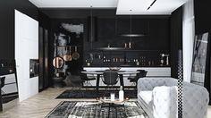 cuisine américaine noire design exclusif cuisine ouverte salle séjour