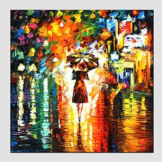 Oil Paintings Modern Landscape Rainy Street Canvas Material With Wooden Stretcher Ready To Hang SIZE:70*70CM. . – GBP £ 32.10