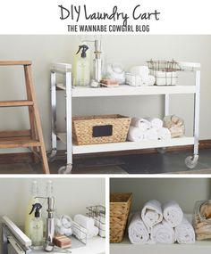 DIY Laundry Cart... Love the chic organization on this cart, too!