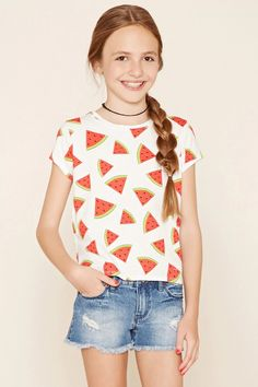 Forever 21 Girls - A short-sleeved knit top featuring an allover watermelon print, side vents at the hem, and a round neckline. #f21kids