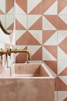 Bert And May Tiles, Architecture Restaurant, Terracotta Floor, Concrete Sink, Bath Tiles, House Tiles, Handmade Tiles, Beautiful Space, Bathroom Interior Design
