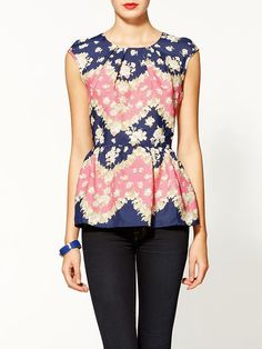 navy and pink peplum top. perfect for spring!
