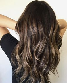 Long Wavy Ash-Brown Balayage - 20 Light Brown Hair Color Ideas for Your New Look - The Trending Hairstyle Hair Color Highlights, Hair Color Balayage, Ombre Hair, Blonde Balayage, Balayage Dark Brown Hair, Balayage Hairstyle, Blonde Hair, Hair Colour, Brown Hair With Caramel Highlights Dark