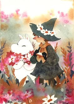 Little painting of Moomin and Snufkin. I like to imagine Moomin is going to take all of those lovely plump flowers back home to his mother. I really love these two and their overload adorable friendship. Wip pictures, sketches and a. Illustrations, Illustration Art, Moomin Wallpaper, Les Moomins, Moomin Valley, Tove Jansson, Cartoon Shows, Fauna, Anime