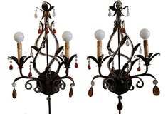 """Vintage gilt metal sconces with amber and clear crystals. Wired and in working condition with an outlet plug and 18""""L cord cover. Can be hardwired if desired. Both have inline and separate switches on the sconce."""