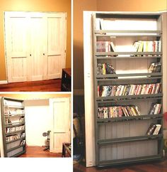 Hidden DVD (and video game) storage.  Each shelf appears to hold 50 or so DVDs.  The shelf that is pretty full looks like it has 50 on it.