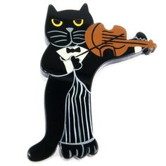 Marie Christine Pavone Hand Painted, Galalith - Black Violinist Cat Brooch Pin y