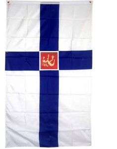 """3x5 Finland Civil State Flag Finnish Government Flags by NationalCountryFlags. $6.85. Double sewn edges for durability. Includes 2 Brass grommets for hanging!. Lightweight and great for hanging inside and out doors. Brand new 3' x 5' (36"""" x 60"""") Polyester Finland State Flag flag. The flag of Finland (Siniristilippu, The Blue Cross Flag) is modelled on the Danish flag and features a blue Nordic cross on a white background. Blue represents lakes and the sky, and white represents ..."""