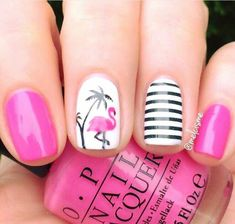 Flamingo Nail Decals/ Nail Stencils – The Best Nail Designs – Nail Polish Colors & Trends Cute Summer Nail Designs, Cute Summer Nails, Tropical Nail Designs, Summer Vacation Nails, Summer Beach Nails, Summer Nail Art, Beach Toe Nails, Vacation Nail Art, Summer Holiday Nails
