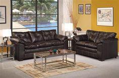 Hayley Onyx Bonded Leather Wood Living Room Set