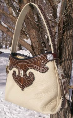 Beautiful leather work -- two toned bag