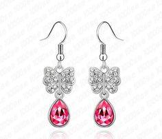 Swarovski Crystallized Rose Pink Pear Shaped Crystal Butterfly Dangle Earrings