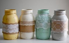 Set of 4 painted & distressed mason jars with lace and burlap, farmhouse decor, rustic wedding decor, shabby chic wedding, shabby chic decor via Etsy