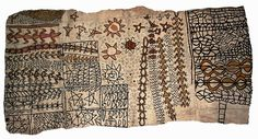 A piece of decorated barkcloth from the South Seas archipelago New Hebrides, also known as Vanuatu, that 1800s Canadian missionaries H.A. and Christina Robertson donated to the Redpath Museum in Montreal.