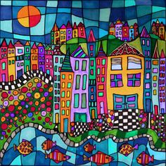 ©Dora Ficher-Colorful Village Pen & India inks on watercolor paper.