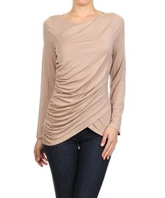 One Fashion Beige Cross-Front Drape Top | zulily