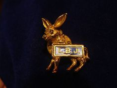L B J DONKEY POLITICAL LAPEL PIN SIGNED GERRY'S - JOHNSON FOR PRESIDENT 1964