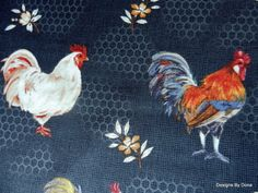 Fabric Roosters Flowers Chicken Wire one half by DesignsByDona, $5.50