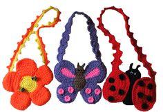 Purse Crochet Pattern, Crochet pattern pack includes instructions for a Flower Purse, a Butterfly purse and a Ladybug purse. $7.99 http://crochetvillage.com//