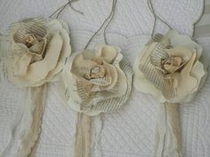 Rose Tie-On's  Made with Vintage Book Pages Antique Lace and Ribbon for Crafts Decor Weddings Gift Wrapping on Etsy, $15.00