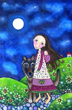 "Mother child art print baby nursery wall decor german shepherd dog wolf whimsical folk art mixed media art poster - ""Walk Thru Midnight"". $20.00, via Etsy."