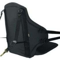 """Manta Seat - Tall Back Kayak Seat : The sleek black Manta Seat from Watersports Warehouse is strong, stable and light-weight. The strong, nylon pack cloth gives it its distinctive appearance. The sturdy 17.5"""" tall back is made from a combination of fiberglass battens and a full-back plastic insert, for added rigidity. Customize it with rod holders, or a rod leash for kayak fishing or a little extra padding for your rear. www.comfykayak.com/manta"""