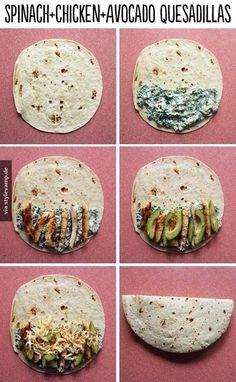 Spinat-Avocado-Hühnchen-Quesadilla