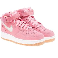Air Force 1 Mid Sneakers (€77) ❤ liked on Polyvore featuring shoes, sneakers, pink, womenshoessneakers, flat sneakers, velcro strap sneakers, nike trainers, velcro sneakers and pink sneakers