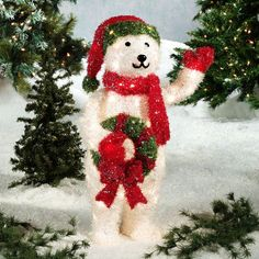 Outdoor Lightup Polar Bear With Blue Ribbon Polar Bear Blue Ribbon And Outdoor Christmas