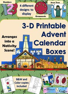 Add a fun twist to your Advent Countdown to Christmas using these 3-D Printable Advent Calendar Boxes with 4 different designs for displaying!