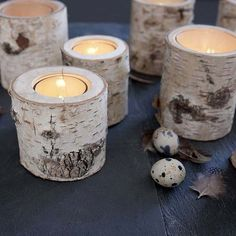 New Winter Collection:  Glass Lined Birch Votives by Rowen & Wren- bet I could DIY this, just need to find logs big enough for votive holder