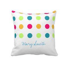 Candy Blue Polka Dot Custom Name Pillow $67.45