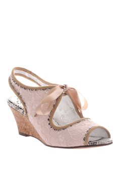 eccea10ae763 Love this Peach Lace Cutout Spanish Sunets Wedge Sandals on iwould get wed  in these instead of the YSL ones.