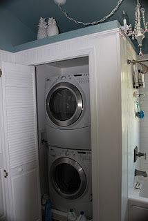 zimmerhouse: Master Bathroom Remodel getting the washer and dryer to the second floor