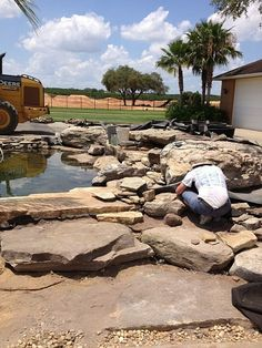 This is a gal Koi pond it had a bead filter and UV lights,we changed it to a Aquascapes Eco system. Pond Waterfall, Fish Ponds, Ponds Backyard, Under Construction, Water Features, Koi, Filters, Concrete, Eco System