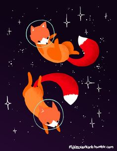 Space Foxes Tote Bag by Maike Vierkant
