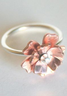 Double Rose Copper & Silver Ring