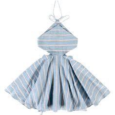 Tuchinda Blue Stripe Annika Dress (230 BRL) ❤ liked on Polyvore featuring dresses, blue stripe dress, blue dress, blue day dress, stripe dresses and striped dress